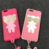 Luxury Fashion Korea Style Cute Soft Silicone Sunglass Bear Case with Lanyard Leather Phone Case Cover For iphone 6 6S Plus