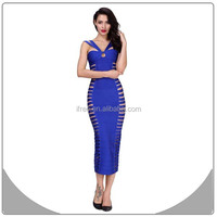 2015 bandage dresses blue wedding dresses with hollow for mature women