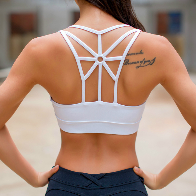 Top quality Removable Pads Wireless Criss Cross Back Yoga Women Sports Bra