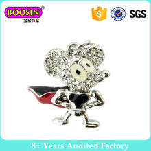 Superman imitative metal crystal strong mouse charms for sale #18274