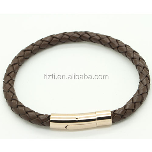 Woven secure matching clasp stock brown leather bracelet