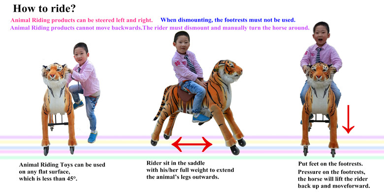 Best selling!!!riding mechanical horse pony, adult ride on tiger toys, horse on wheels