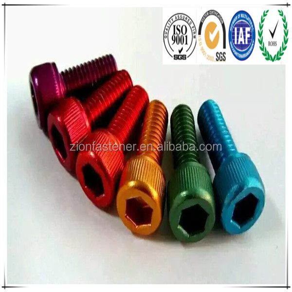 Automotive Bolts and Nuts Suppliers Different Color Aluminum M3 Metal Hex Socket Cap Screw
