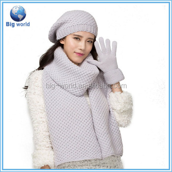 2015 bigworld new style knit woolen hat scarf and图片