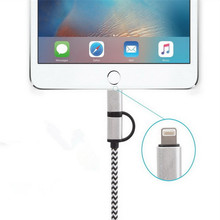 High Speed 2 in 1 charging Micro Usb Cable mini Nylon Braided Usb Data Cable for iphone 7 8