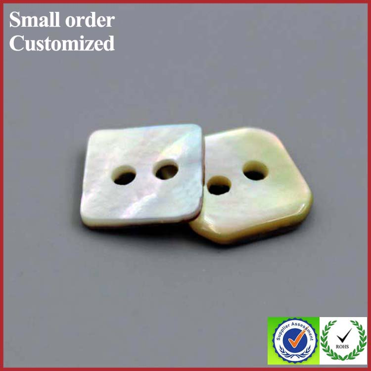 Square 2 hole white troca shell buttons for baby sweaters cloth