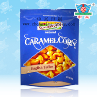 Gravure printing plastic caramel corn bag/Stand up candy pouch/ Candy packing pouch with zipper