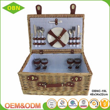 Wholesale high quality handmade folk art style empty wicker material cheap picnic baskets