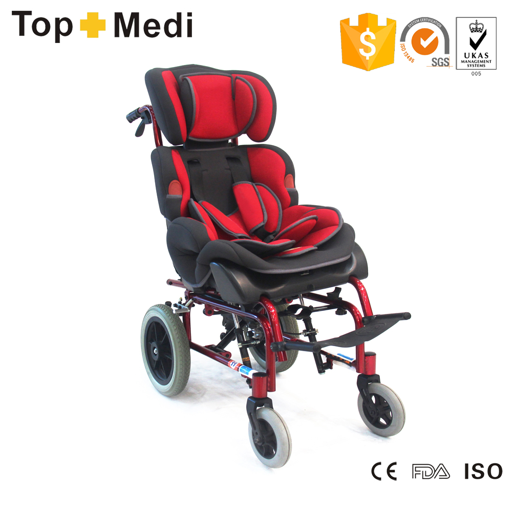 Topmedi adjustable seat angle TRW258LBYGP ALUMINUM FRAME Disabled baby Wheelchair for Cerebral palsy children