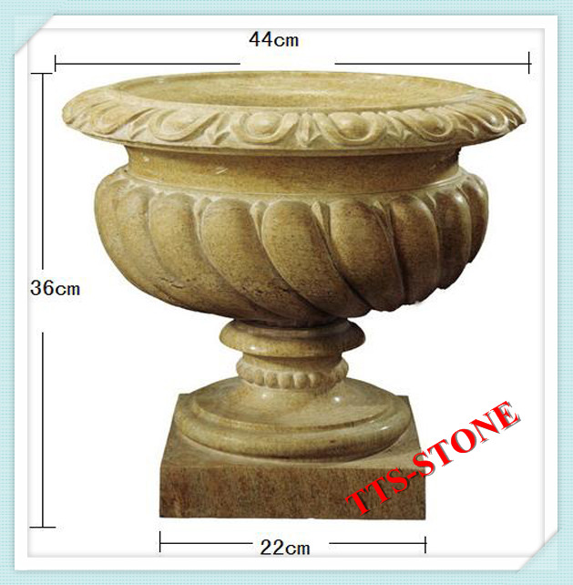 Little Size Yellow Granite Marble Flower Pot