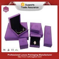 Latest Fancy Velvet Packaging Jewelry Necklace Boxes /Purple Elegant Jewelry Box