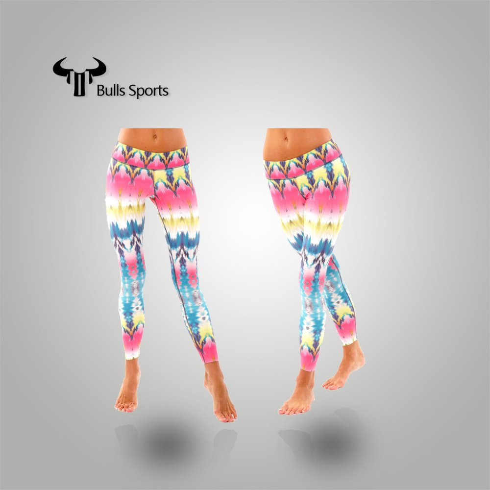 Colorful dry fit fitness gymwear/ yoga gear wholesale printed yoga pants custom woman running tights