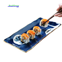 Homeware Dinnerware gift set Japanese style Rectangle Ceramic Sushi <strong>Plate</strong>