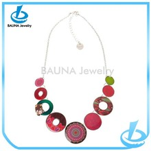 Wholesale multi color round resin colored plastic chain link necklace