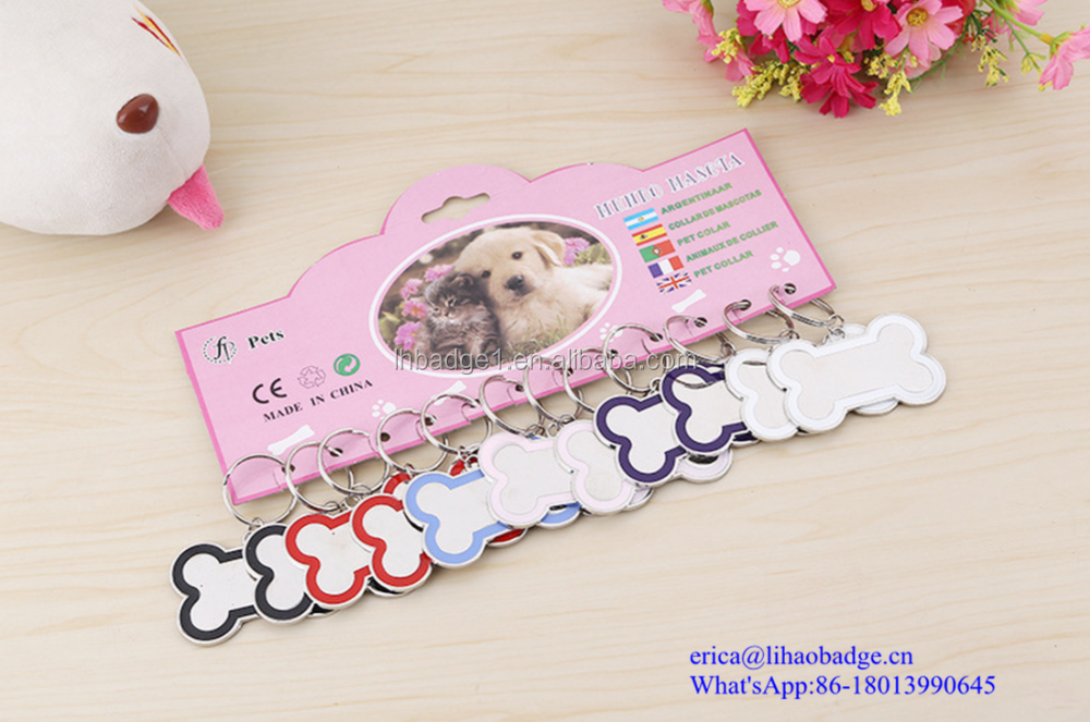 Factory supply personalized bone shape glitter blank dog pet id tag