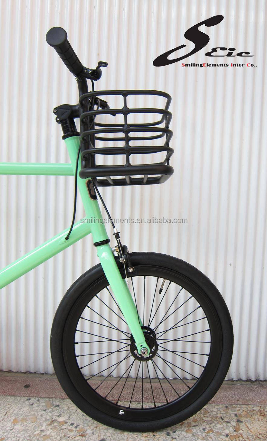 hellgr n 20 zoll mini fixie fahrrad mit korb lenker. Black Bedroom Furniture Sets. Home Design Ideas