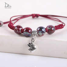 Simple Design Bracelets Handmade Red Rope String Braided Ceramic Bracelets for Women jewelry bracelet clasps
