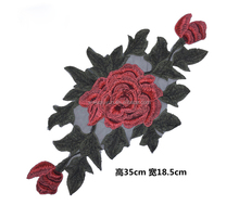 Rose Flower Embroidery Patches Sticker for Clothes Parches Para La Ropa Applique Embroidery Custom Patch