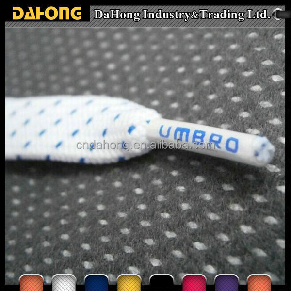 color dots jacquard flat cotton drawstring cord with custom logo plastic end