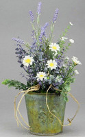 WHITE/LAVENDER DAISY & LAVENDER ARRANGEMENT ON ROUND IRON PLANTER