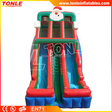 large Santa inflatable Double Lane Slide, inflatable dry slide for christmas