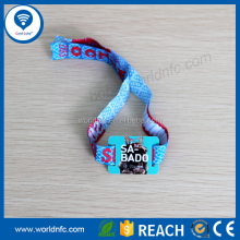 Disposable soft Stretch Woven RFID Wristband with NFC Ultralight-Ev1 chip