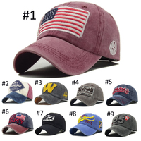 8 Color Stock Vintage wash Baseball caps outdoor sports wholesale embroidered 6 panel dad hat