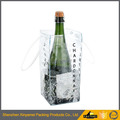 Wholesale transparent pvc wine bag for single bottle with two sturdy handles