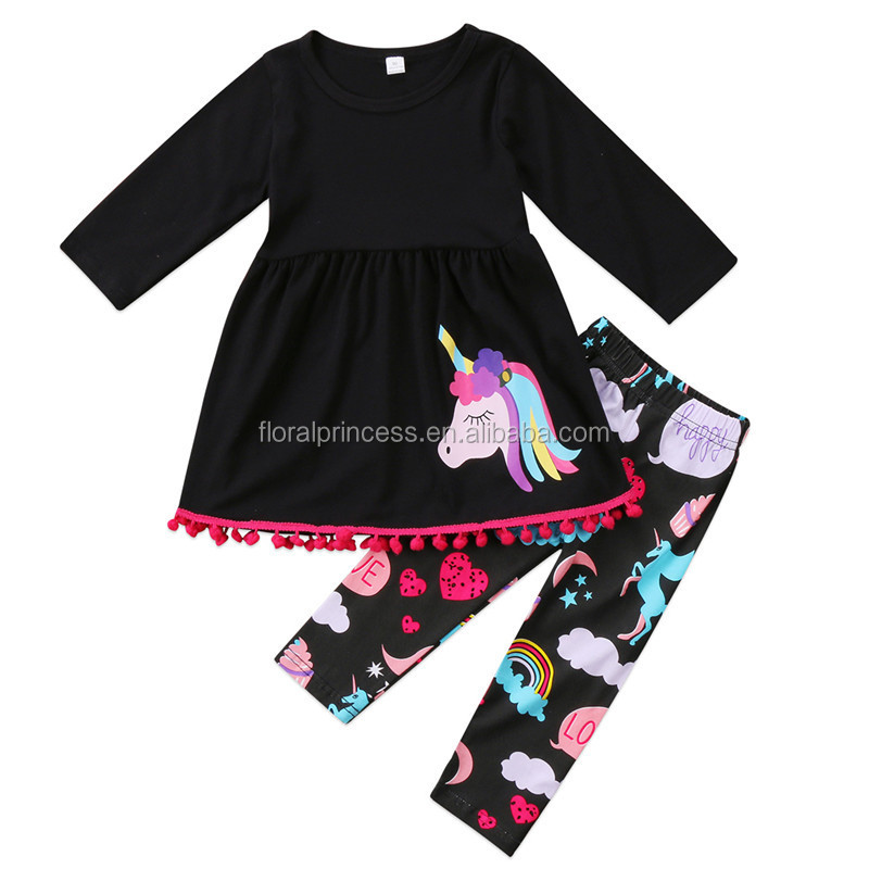 Kids Baby Girls Outfits Clothes Long Sleeve Unicorn Print Tops Dress + Long Pants 2PCS Sets 2017 Autumn Winter Baby Clothing