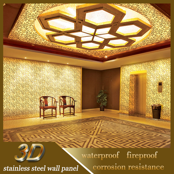 SS Hall Ceiling Interior Decoration Embossed 3D Wall Panel