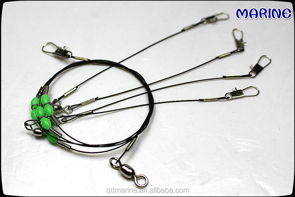 Stainless steel fishing wire leader rig with 4 trace buy for Steel fishing leader