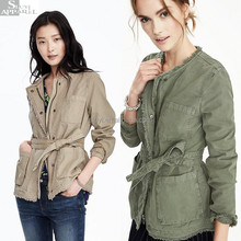 Clothing Hot Sale Long Khaki Olive Wrap Women Military Jacket Bulk Wholesale Jackets For Women Most Popular Winter Jacket