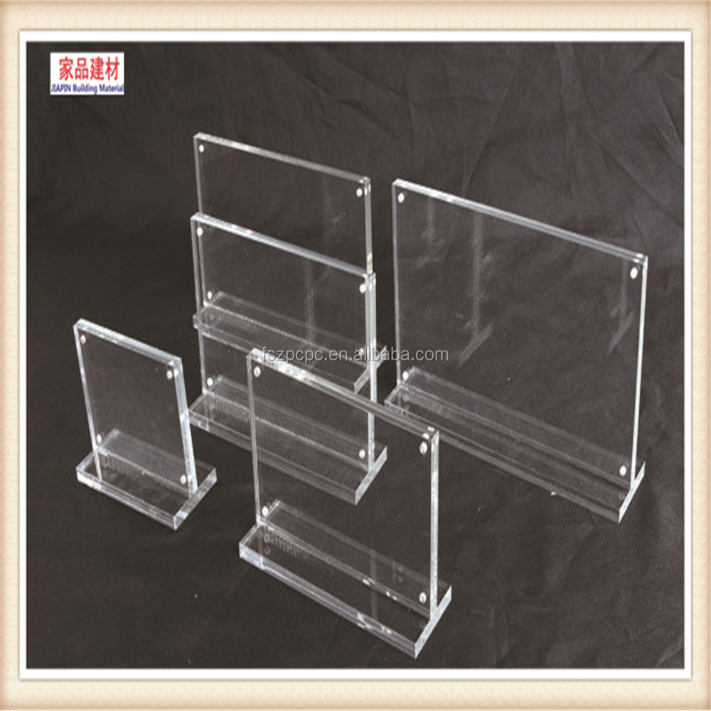 L shaped custom clear acrylic menu holder with one pocket