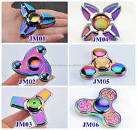 Hot Rainbow Hand Spinner Dazzle Colour Hand Spinner Aluminum Alloy Tri-Spinner Fidget Finger Gyro Toy