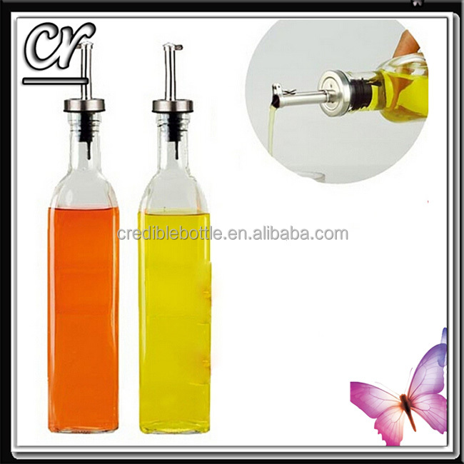 Square Bottom Oil and Vinegar Glass Bottle With Spout oil dispenser