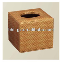 Simple style hotel guestroom PVC leather supplies set(tissue box,clock) PW-45, China manufacturer