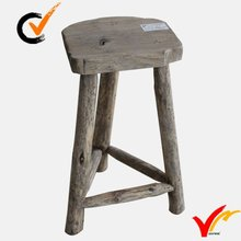 Hand carved irregular top Rustic distressed 3 legged wooden garden stool