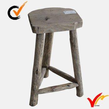 Hand Carved Irregular Top Rustic Distressed 3 Legged Wooden Garden Stool