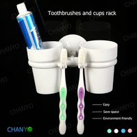wholesale Wall mounted soft suction cup double toothbrush and cups frame rack