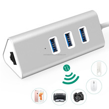 USB Ethernet Hub 3 Port, Aluminum Body for iMac, MacBook/ Pro/ Air, Mac Mini and More PC
