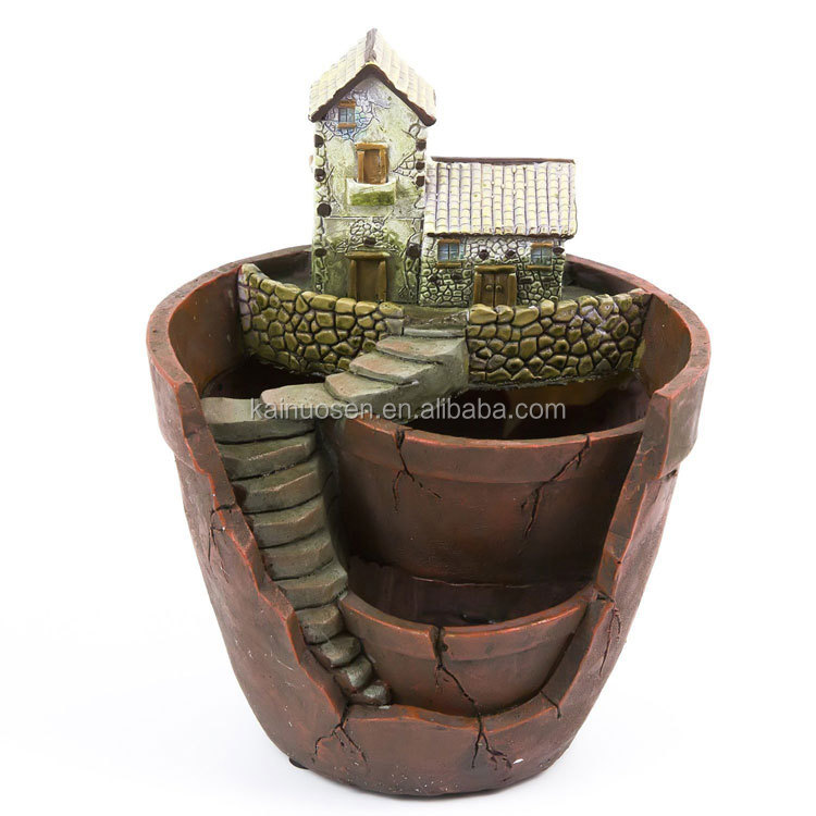 Creative Plants Pot Decorated with Mini Hanging Fairy Garden and Sweet House