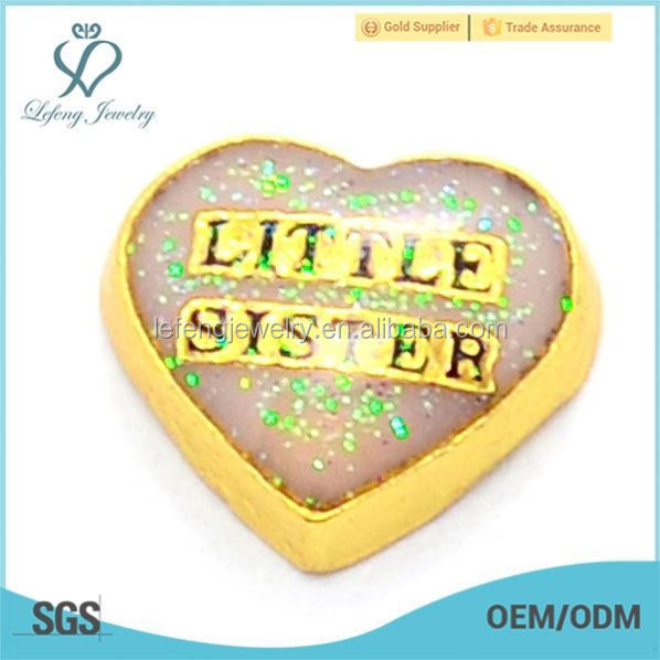 New Arrival Little Sister letter heart gold filled floating charms