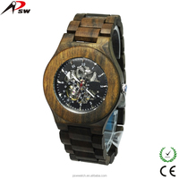 High quality penetrate movement wooden watch mechanical skeleton automatic watch