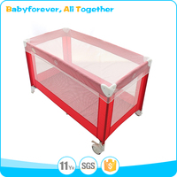 New model red color square basic large playpen for babies
