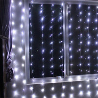 300led Window Curtain Icicle Lights String Fairy Light Home Garden Decorations 3m*3m (White) led light curtain