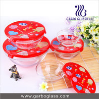 Wholesale Cheap Colored Gift Box Elegant Sealed Clear Glass Bowl,Glassware Bowl 5pcs Set , glass bowl set with spray color
