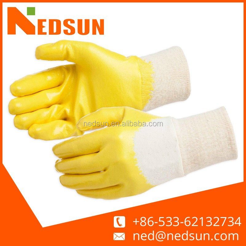 High quality durable safety cotton jersey lining nitrile coated gloves for working