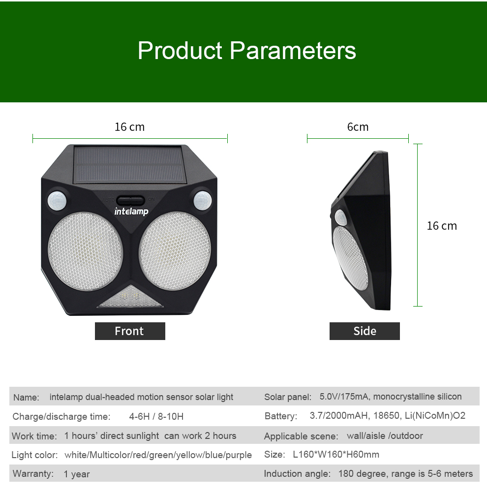 New Design dual headed motion sensor waterproof outdoor led solar garden light for lighting and decoration