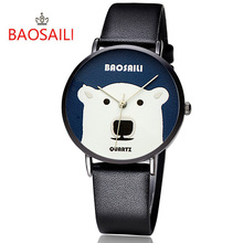 BAOSAILI Watch Women Personality Polar Bear Face Quartz Leather Wrist Watch Graceful Lady Waterproof Watch