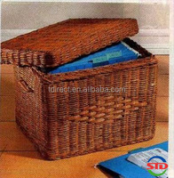 Multi-function file storage wicker basket with lid